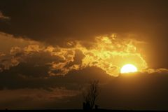 1 solnedgång Royaltyfri Bild