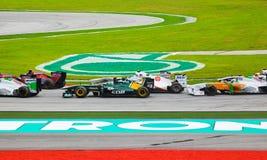1 spår för bilformelrace Arkivfoto
