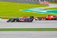 1 spår för bilformelrace Arkivbilder