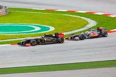 1 spår för bilformelrace Arkivbild