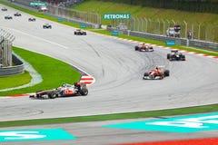 1 spår för bilformelrace Arkivfoton