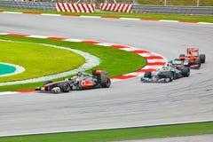 1 spår för bilformelrace Royaltyfria Foton