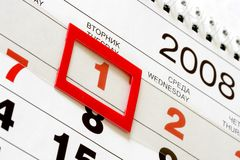 1-st January 2008. Sheet of wall calendar with red mark on 1-st January 2008 stock image