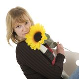 1 sunflower woman Στοκ φωτογραφίες με δικαίωμα ελεύθερης χρήσης
