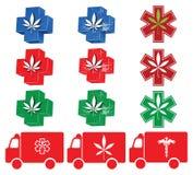 1 symbolsmarijuanaläkarundersökning stock illustrationer
