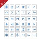 1 symbolsset vektor illustrationer