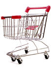 1 tło białe wózka na zakupy Fotografia Royalty Free