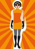 (1) tła ubraniowy dziewczyny s sunburst rocznik Obraz Stock