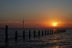 1 techirghiol захода солнца Стоковое фото RF