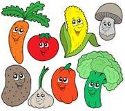 1 tecknad filmsamlingsgrönsak Arkivfoton