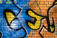 1 tegelstenväggmålningvägg Fotografering för Bildbyråer