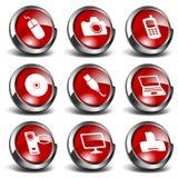 1 teknologi för multimedior för symboler 3d set royaltyfri illustrationer