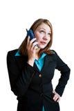 1 telefon kobieta jednostek gospodarczych Obraz Stock