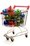 1 trolley för shopping för julgarneringar fulla Arkivbild