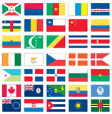 1 värld för 8 flaggor Arkivbild