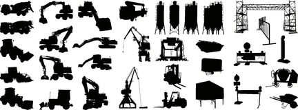 1 vecteur de site de silhouette de construction Photos stock