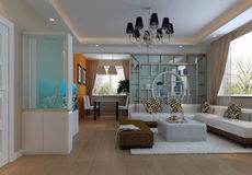 1 vivere dell'interiore 3d moderno rende la stanza Fotografia Stock