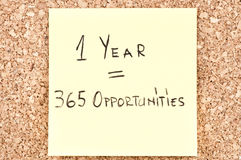 1 Year 365 Opportunities. Handwritten on a sticky note Royalty Free Stock Image