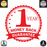1 Year money back guarantee. With color scheme, vector art Stock Photo
