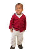1 year old baby boy standing wear red on white Stock Images