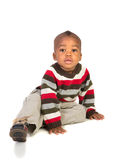 1 year old baby boy standing wear red on white Royalty Free Stock Photos