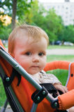 1 year old girl  in baby carriage Royalty Free Stock Photography