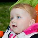 1 year old girl  in baby carriage Royalty Free Stock Images