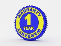 1 year warranty. 3d render of a 1 year warranty Vector Illustration