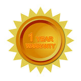 1 Year Warranty. 3D of 1 year warranty badge or seal Stock Photography