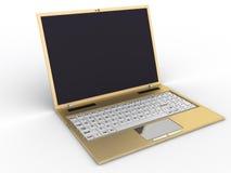 (1) złoty laptop Fotografia Royalty Free