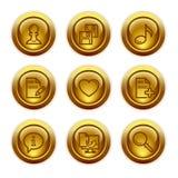 10个按钮金图标设置了万维网 库存照片