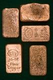 10个棒金块纯铜的盎司 库存照片