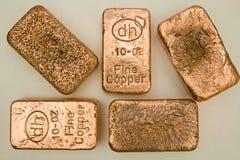 10个棒金块纯铜的盎司 库存图片