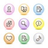 10个球颜色图标设置了万维网 免版税库存照片
