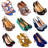 10双女性多彩多姿的鞋子 图库摄影