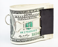 10夹子美元紧固纸张一千我们 图库摄影