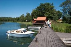 10条小船码头瑞典 库存图片