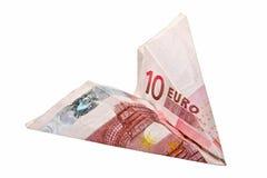 10欧元纸飞机 免版税库存图片