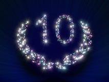 10 årsdagnummerstjärnor Arkivbilder
