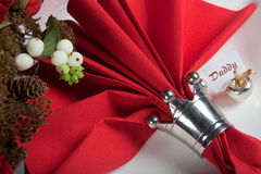 10 świąteczny czerwieni stołu biel Zdjęcie Royalty Free