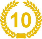 10 έτη στεφανιών δαφνών Στοκ εικόνες με δικαίωμα ελεύθερης χρήσης