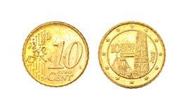 10 ευρώ πηνίων σεντ Στοκ εικόνα με δικαίωμα ελεύθερης χρήσης