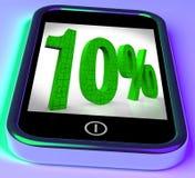 10 σε Smartphone που εμφανίζει τις συμφωνίες και μειωμένες τιμές απεικόνιση αποθεμάτων