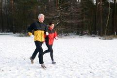 10 τρέχοντας χιόνι Στοκ Εικόνες