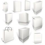 10 белых пустых коробок на белизне иллюстрация вектора