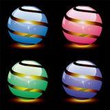 10 глобусов 3d eps внутри светлого глянцеватого вектора Стоковое Изображение