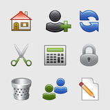 10 икон установили стилизованную сеть Стоковые Изображения RF