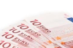 10 кредиток закрывают евро вверх Стоковые Изображения