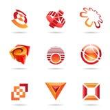 10 различных абстрактного красного цвета икон установленных Стоковая Фотография RF