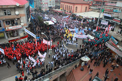10,000名金属工作者演出了在ZONGULDAK的DEMONSTRATIM。 库存图片